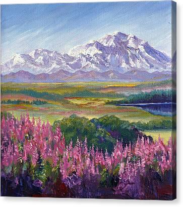 Denali And Fireweed Alaska Canvas Print by Karen Mattson