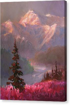 Denali Summer - Alaskan Mountains In Summer Canvas Print by Karen Whitworth