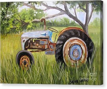 Dena's Blue Tractor Canvas Print