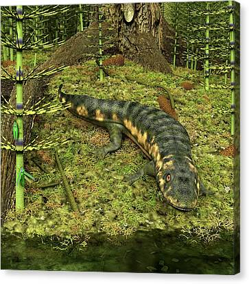 Dendrerpeton Prehistoric Amphibian Canvas Print by Walter Myers