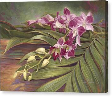 Dendrobium Orchids Canvas Print by Lucie Bilodeau