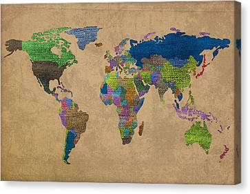 Denim Map Of The World Jeans Texture On Worn Canvas Paper Canvas Print by Design Turnpike