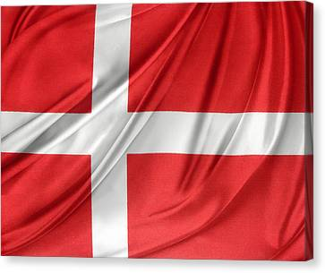 Denmark Flag Canvas Print by Les Cunliffe