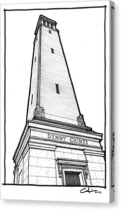 Canvas Print featuring the drawing Denny Chimes by Calvin Durham