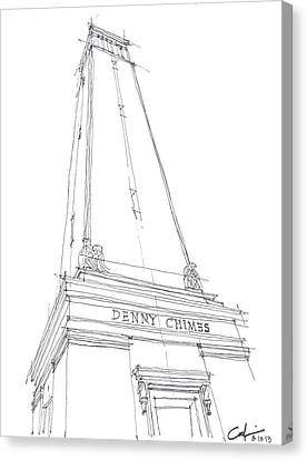 Canvas Print featuring the drawing Denny Chimes Sketch by Calvin Durham