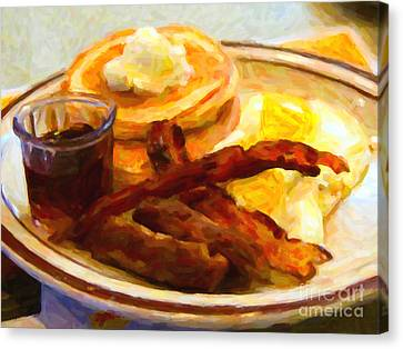 Denny's Grand Slam Breakfast - Painterly Canvas Print by Wingsdomain Art and Photography