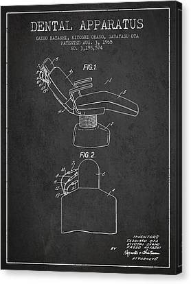 Technician Canvas Print - Dental Apparatus Patent From 1965 - Dark by Aged Pixel