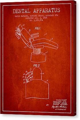 Technician Canvas Print - Dental Apparatus Patent From 1965 - Red by Aged Pixel