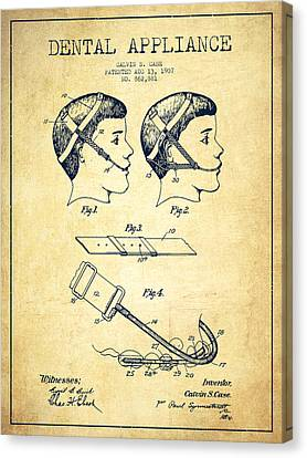Dental Appliance Patent From 1907 - Vintage Canvas Print by Aged Pixel