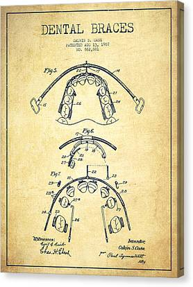 Dental Braces Patent From 1907 - Vintage Canvas Print by Aged Pixel