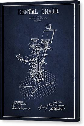 Technician Canvas Print - Dental Chair Patent Drawing From 1896 - Navy Blue by Aged Pixel