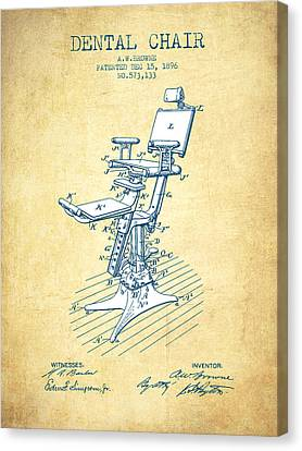 Technician Canvas Print - Dental Chair Patent Drawing From 1896 - Vintage Paper by Aged Pixel
