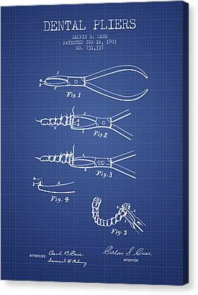 Technician Canvas Print - Dental Pliers Patent From 1903 - Blueprint by Aged Pixel