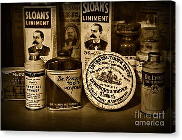 Dentist  -  Tooth Powder And More In Black And White Canvas Print by Paul Ward