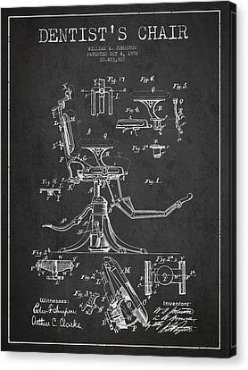 Dentist Chair Patent Drawing From 1892 - Dark Canvas Print