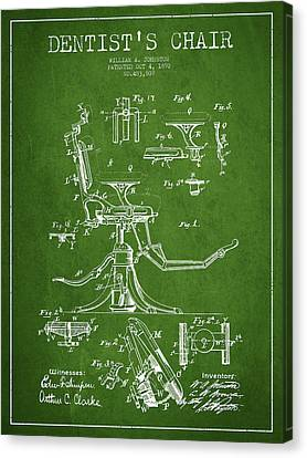 Technician Canvas Print - Dentist Chair Patent Drawing From 1892 - Green by Aged Pixel