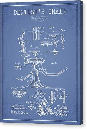 Technician Canvas Print - Dentist Chair Patent Drawing From 1892 - Light Blue by Aged Pixel