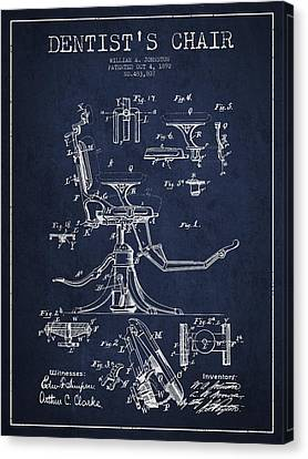 Dentist Chair Patent Drawing From 1892 - Navy Blue Canvas Print by Aged Pixel