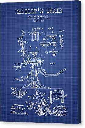 Technician Canvas Print - Dentist Chair Patent From 1892 - Blueprint by Aged Pixel