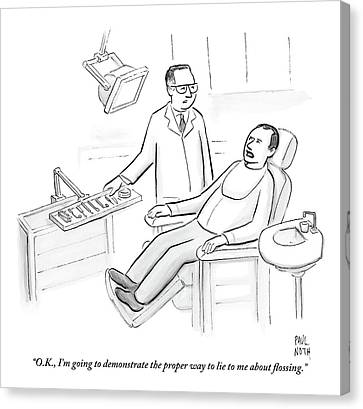 Dentist Speaks To Man In Dentist Office Canvas Print by Paul Noth