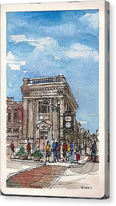 Canvas Print featuring the mixed media Denton County National Bank by Tim Oliver