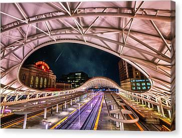 Canvas Print featuring the photograph Denver Air Traveler by Darren  White