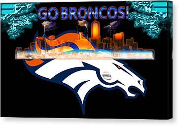 Denver Broncos 3 Canvas Print by Becca Buecher