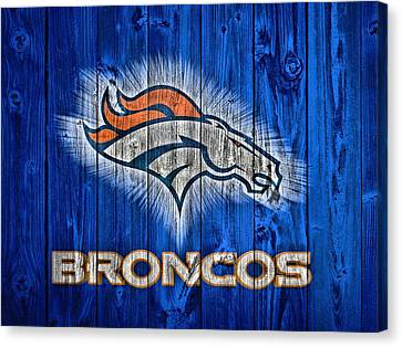 Denver Broncos Barn Door Canvas Print by Dan Sproul