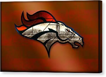 Denver Broncos With Skyline 2 Canvas Print by Becca Buecher