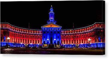 Denver City And Country Building In Bronco Blue And Orange Canvas Print by Teri Virbickis
