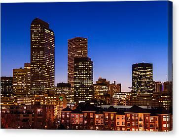 Denver Colorado Skyline At Blue Hour Mar 2013 Canvas Print by Teri Virbickis