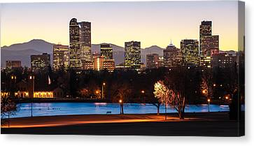 High Park Fire Canvas Print - Denver Colorado Skyline From City Park by Gregory Ballos