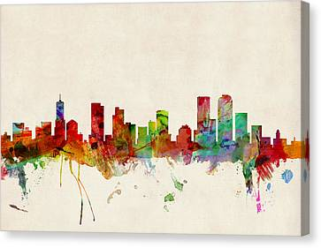 Silhouettes Canvas Print - Denver Colorado Skyline by Michael Tompsett