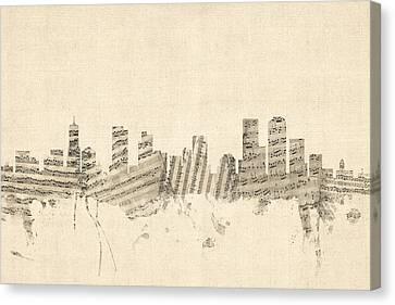 Denver Colorado Skyline Sheet Music Cityscape Canvas Print by Michael Tompsett
