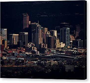 Denver Digital Art Canvas Print by Ernie Echols