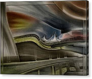 Canvas Print featuring the pastel Denver Intl Airport 2010 by Glenn Bautista