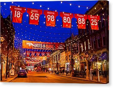 Denver Larimer Square Blue Hour Nfl United In Orange Canvas Print