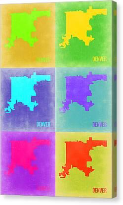 Denver Pop Art Map 3 Canvas Print by Naxart Studio