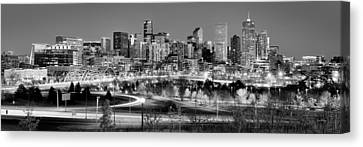 Canvas Print featuring the photograph Denver Skyline At Dusk Evening Bw Black And White Evening Panorama Broncos Colorado  by Jon Holiday