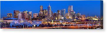 Canvas Print featuring the photograph Denver Skyline At Dusk Evening Color Evening Extra Wide Panorama Broncos by Jon Holiday