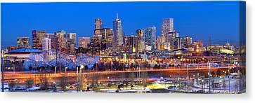 Canvas Print featuring the photograph Denver Skyline At Dusk Evening Color Evening Panorama Broncos Colorado  by Jon Holiday