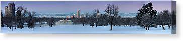 Canvas Print featuring the photograph Denver Skyline From City Park by Kristal Kraft