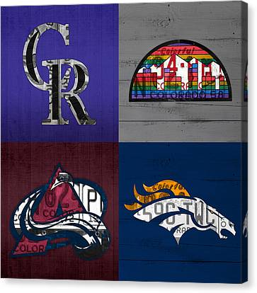 Denver Sports Fan Recycled Vintage Colorado License Plate Art Rockies Nuggets Avalanche Broncos Canvas Print by Design Turnpike