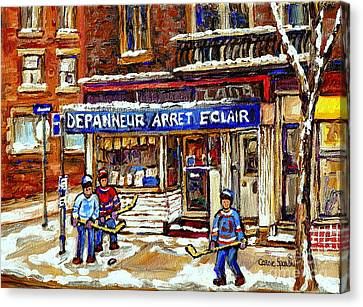 Depanneur Arret Eclair Verdun Rue Wellington Montreal Paintings Original Hockey Art Sale Commissions Canvas Print by Carole Spandau