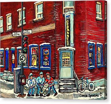 Depanneur Centre Pointe St Charles Montreal Verdun Paintings Hockey Art City Scenes Cspandau Canvas Print by Carole Spandau