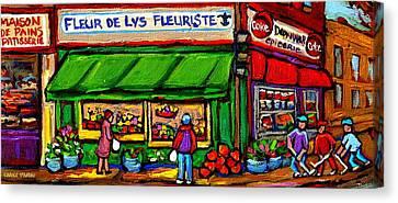 Depanneur Coca Cola Marche Fleuriste Maison De Pain Montreal Street Hockey Scenes Quebec Art  Canvas Print by Carole Spandau