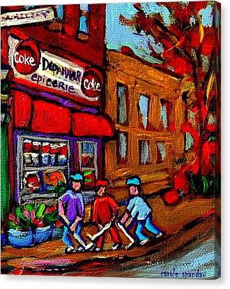 Depanneur  Marche Epicerie Montreal Summer Street Hockey Painting South West City Scene Canvas Print by Carole Spandau