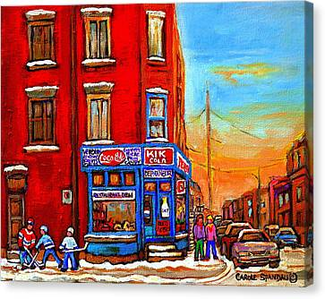 Depanneur Marche Fruits Verdun Restaurant Smoked Meat Deli  Montreal Winter Scene Paintings  Hockey  Canvas Print by Carole Spandau