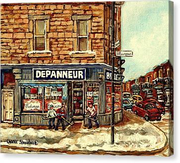 Depanneur Safa Verdun Cornerstore Wellington St Montreal Winterscene  Paintings Hockey Art Cspandau  Canvas Print by Carole Spandau
