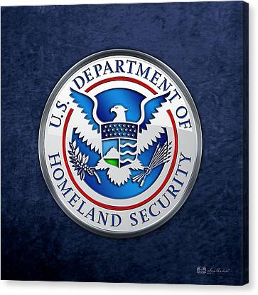 Canvas Print featuring the digital art Department Of Homeland Security - D H S Emblem On Blue Velvet by Serge Averbukh